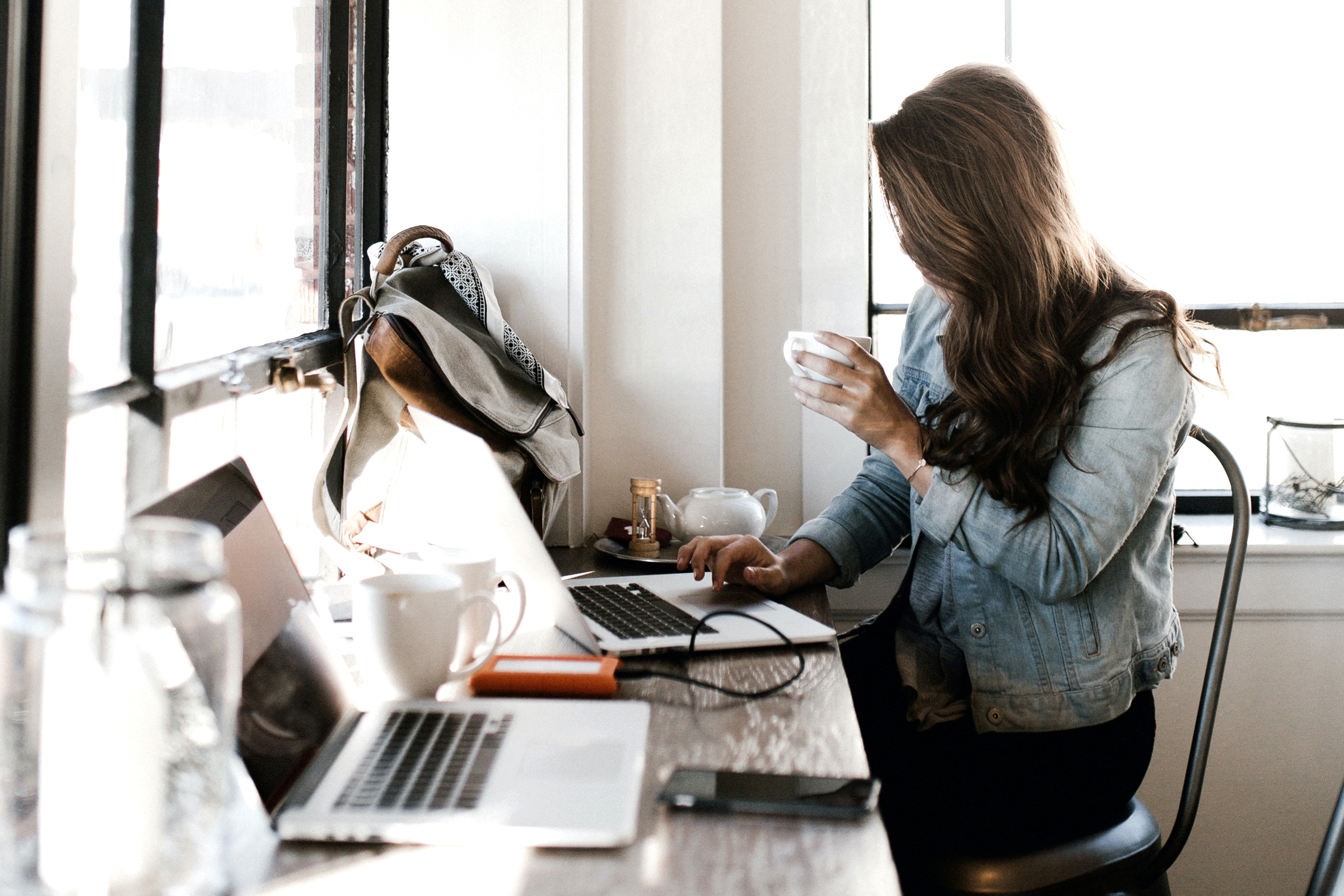 Images of women working in cafes